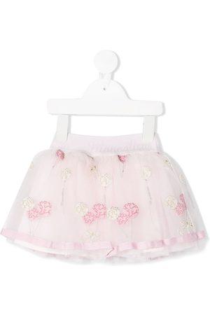 MONNALISA Balloon embroidered tulle flared skirt