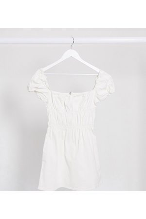 Missguided Ruched milkmaid denim dress in white