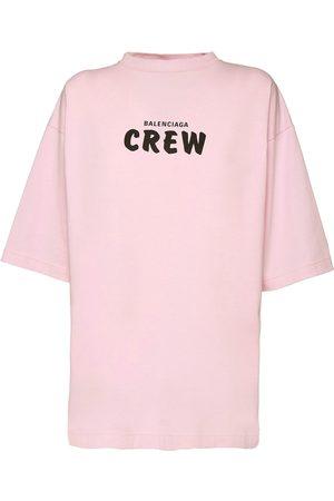 Balenciaga Dames T-shirts - Over Crew Print Cotton Jersey T-shirt