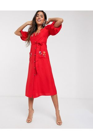 ASOS Embroidered button through midi tea dress with puff sleeves in rust