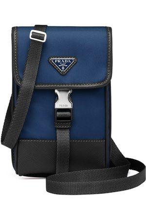 Prada Saffiano trim shoulder strap phone case