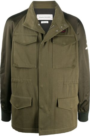Alexander McQueen Hooded logo patch military jacket