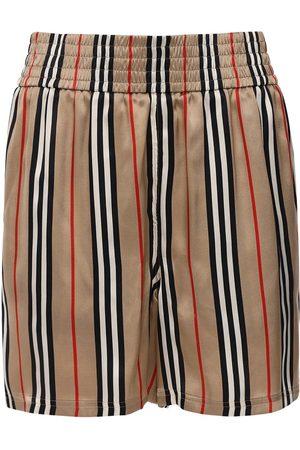 Burberry Check Printed Silk Twill Shorts