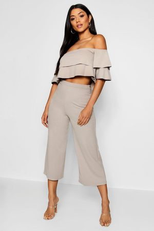 Boohoo Dames Strapless tops - Double Bandeau Top And Culotte Co-Ord Set
