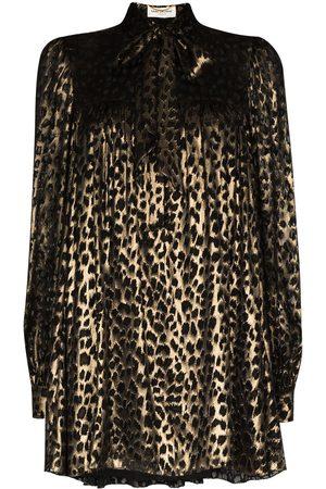 Saint Laurent Tie neck metallic leopard print dress
