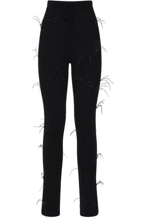 MARQUES'ALMEIDA Flared Ribbed Knit Pants W/ Feathers