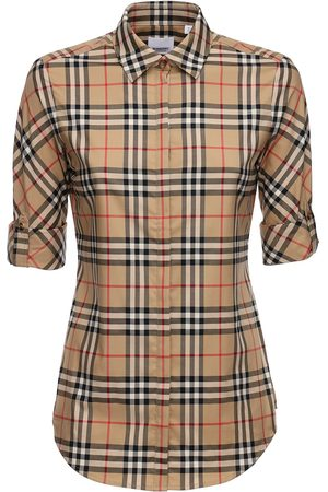 Burberry Dames T-shirts - Checked Stretch Cotton Blend Shirt