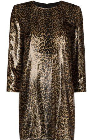 Saint Laurent Metallic leopard print mini dress