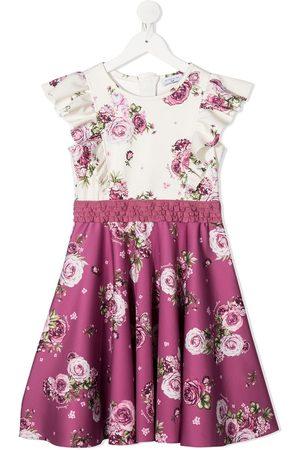 MONNALISA Floral-print contrast panel dress