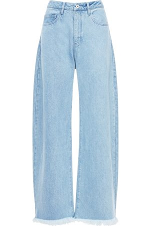 MARQUES'ALMEIDA High Waist Cotton Wide Leg Jeans