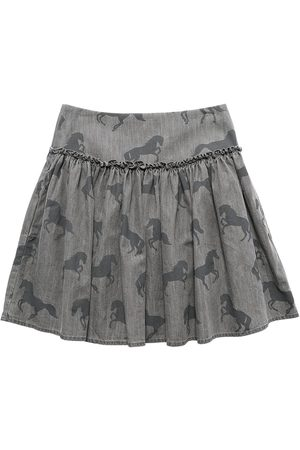 Stella McCartney Meisjes Geprinte rokken - Horses Print Cotton Chambray Skirt