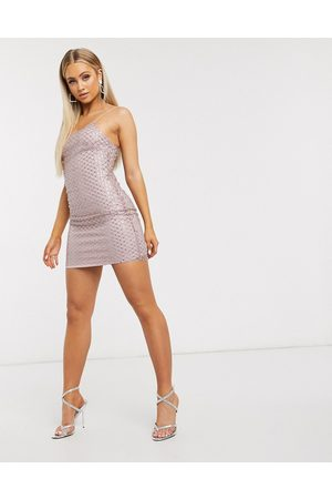 Club L Embellished overlay mesh cami mini dress in pale pink