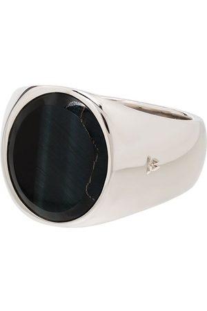 TOM WOOD Sterling silver oval stone hawk eye ring