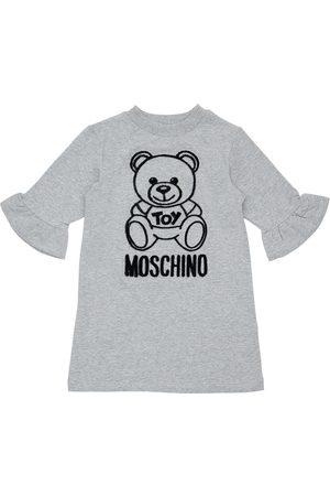 Moschino Meisjes Casual jurken - Flocked Toy Bear Cotton Sweat Dress