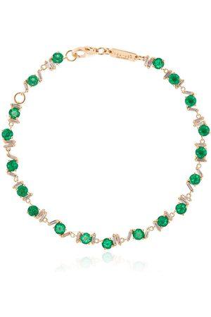 Suzanne Kalan 18kt yellow gold, emerald and diamond tennis bracelet