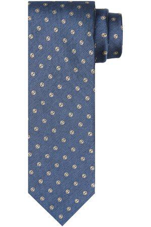 Profuomo Blauwe zijden print stropstropdas heren