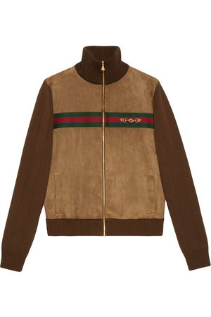 Gucci Web-embellished panelled bomber jacket