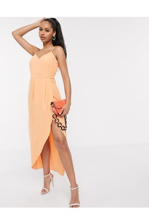 Y.A.S Cami midi dress with wrap front in orange