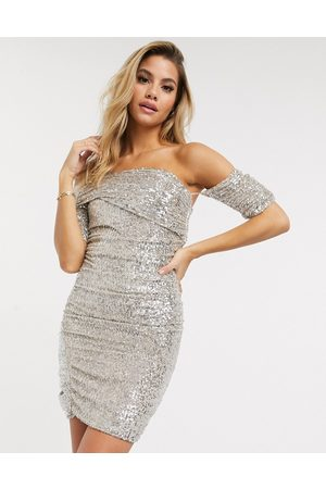 Club L Fallen shoulder bardot sequin mini dress in silver