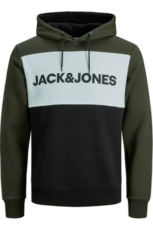 Jack & Jones Colourblocking Logo Hoodie Heren Green