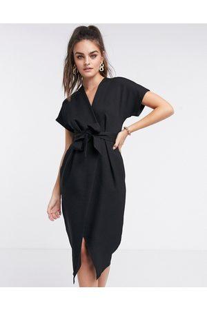 Closet Wrap tie midi dress in black