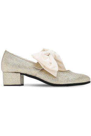 MONNALISA Glittered Cotton Blend Flats