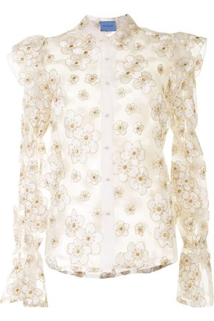 Macgraw Souffle embroidered organza shirt