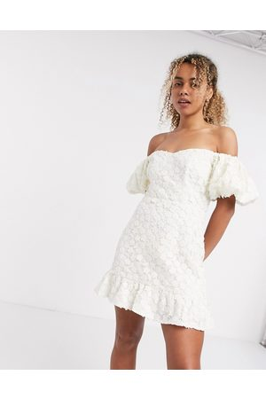 & OTHER STORIES Dames Korte jurken - Floral lace puff sleeve mini dress in white