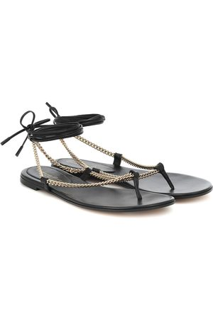 Gianvito Rossi Leather and chain thong sandals