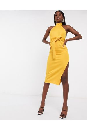 ASOS Paperbag halter pencil midi dress in mustard-Yellow