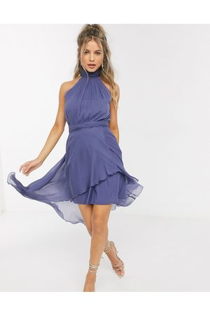 ASOS Halter dress with soft layered skirt in blue