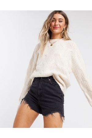Urban Bliss Balloon sleeve cable knit jumper in cream