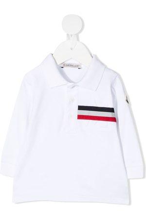 Moncler Long sleeve striped print polo shirt