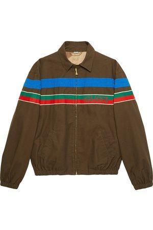 Gucci Logo-stripe zip-up jacket