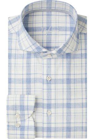 Profuomo Heren Overhemden - Wit geruit poplin overhemd Originale heren