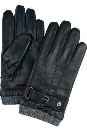 Profuomo Zwarte leren handschoenen met gebreide manchet heren