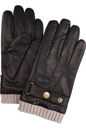 Profuomo Heren Handschoenen - Bruine leren handschoenen met gebreide manchet heren
