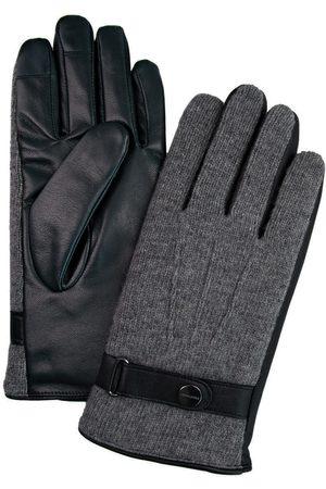 Profuomo Grijze gebreide en leren handschoenen heren