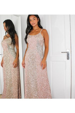 Maya All over delicate sequin panelled maxi dress in pink