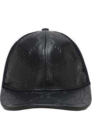 Gucci Heren Petten - Gg Embossed Leather & Mesh Cap