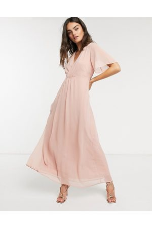 Vila Maxi dress with gathered wrap front and flutter sleeves in pink