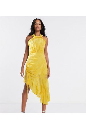 Dark Pink Dames Halterjurken - Halter neck ruched midi dress in golden yellow