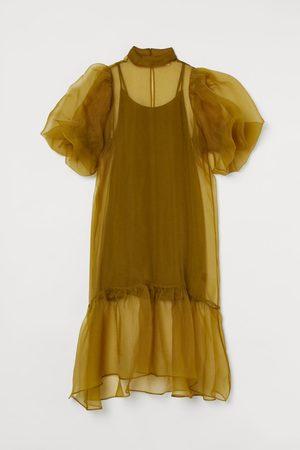 H&M Organza jurk met ballonmouwen