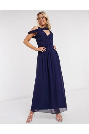 Little Mistress Dames Lange jurken - Drape maxi dress in navy