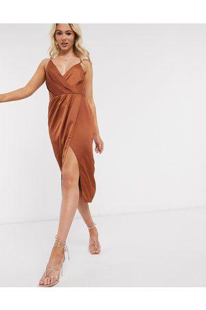 Little Mistress Satin wrap dress in rust-Orange