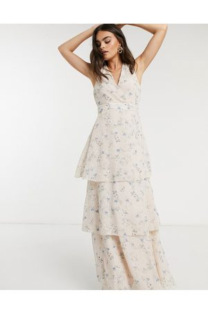 Y.A.S Midi dress with tiering and racer back knot detail in floral print-Multi