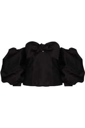The Attico Puff-sleeve bustier blouse
