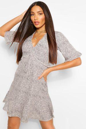 Boohoo Tall Woven Spot Print Ruffle Front Tea Dress