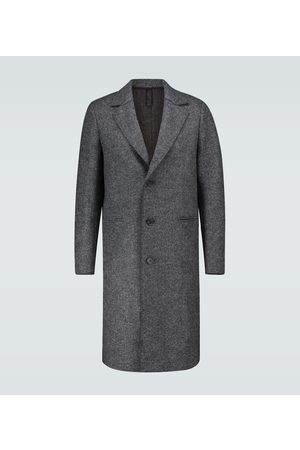 Harris Wharf London Long herringbone virgin wool coat