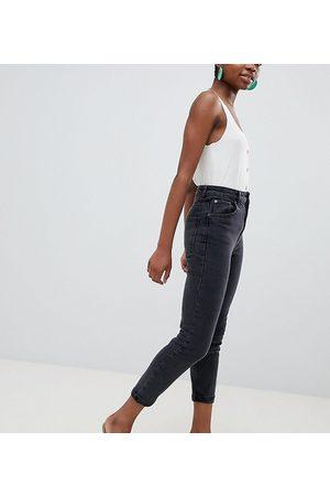 ASOS ASOS DESIGN Petite high rise farleigh 'slim' mom jeans in washed black